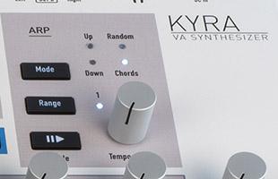 detail image of Waldorf Kyra top panel showing arpeggitor controls