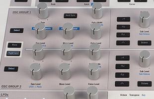 detail image of Waldorf Kyra top panel showing oscillator controls