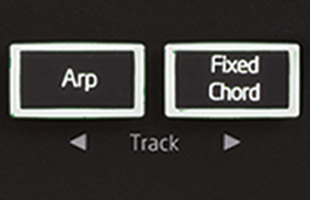 detail image of Novation Launchkey Mini MK3 showing Arp and Fixed Chord buttons