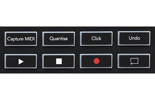 detail image of Novation Launchkey 49 MK3 top panel showing transport controls and dedicated Ableton Live buttons