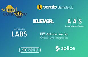 logos for Novation Sound Collective, Serato Sample LE, Klevgrand, AAS, Spitfire Audio Labs, Ableton Live Lite, XLN Audio Addictive Keys and Splice Sounds