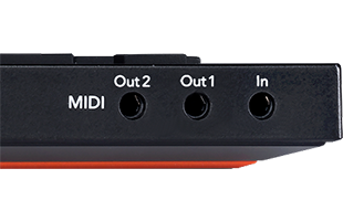 closeup view of MIDI in, out and out/thru ports on rear of Novation Launchpad Pro