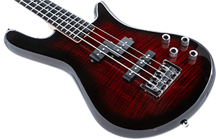 close-up image of Spector Legend 4 Standard showing top, front edge and left side of body and portion of fretboard