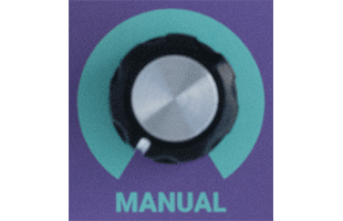 detail image of Dreadbox Lethargy control panel showing MANUAL knob