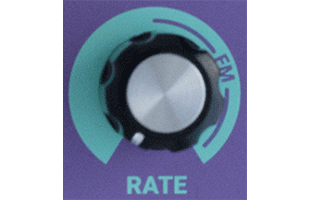detail image of Dreadbox Lethargy control panel showing RATE knob