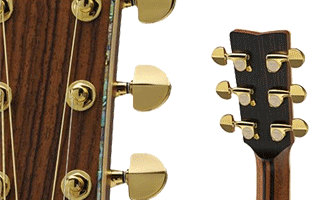 collage image showing Yamaha L series acoustic guitar headstock top, headstock back and portion of neck