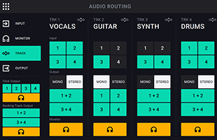 screen image from HeadRush Looperboard showing audio routing interface