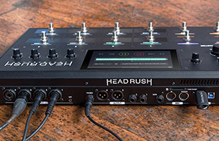 rear panel image of HeadRush Looperboard showing audio and data connections