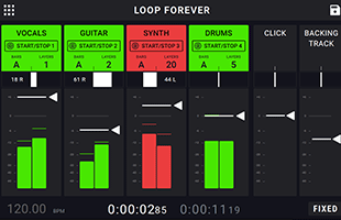 screen image from HeadRush Looperboard showing mixer interface