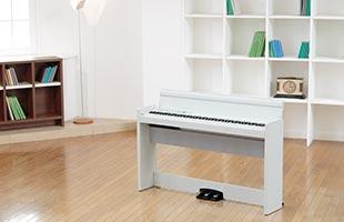 Korg LP-380U in rec room setting on wooden floor in front of shelves