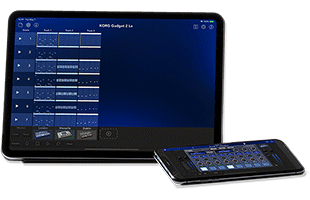 smartphone resting in front of tablet computer with both screens showing Korg Gadget 2 Le DAW music production app