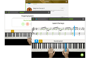 collage of screen images from Skoove online piano lesson software