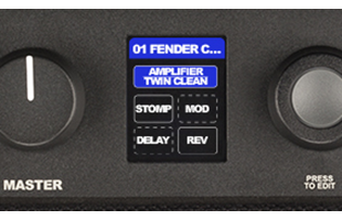 detail image of Fender Mustang LT50 control panel showing master volume knob, screen and data encoder