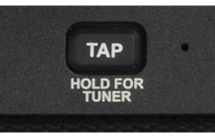 detail image of Fender Mustang LT50 control panel showing tap/tuner button