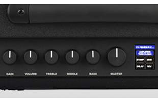 detail image of Fender Mustang LT50 control panel showing knobs and screen