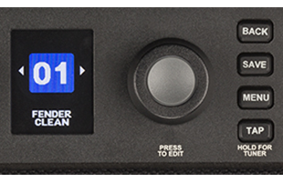 detail image of Fender Mustang LT50 control panel showing screen, data encoder and menu buttons