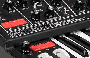 detail image of Moog Matriarch Dark top panel showing nameplate