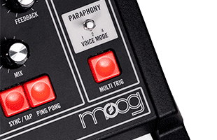 detail image of Moog Matriarch Dark top panel showing paraphony controls