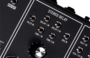 detail image of Moog Matriarch Dark top panel showing stereo delay module