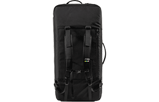 vertical bottom image of Moog Matriarch SR Case with backpack straps attached