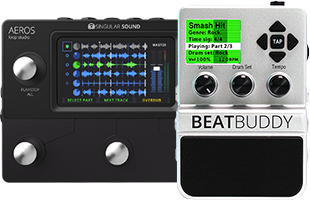 collage image with Singular Sound Beat Buddy and Singular Sound Aeros