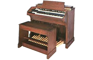 3/4 view of Hammond tonewheel organ showing top, front and right side