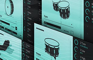 collage of screen images from Akai Professional DrumSynth plug-in instruments