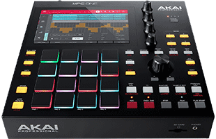 perspective view of Akai Professional MPC One showing top and front