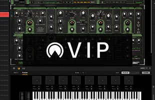 screenshot from Akai Professional VIP music software with VIP logo graphic superimposed