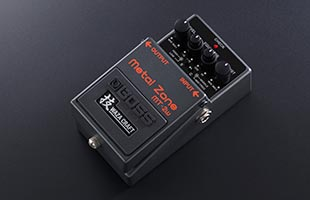 3/4 view of Boss MT-2W Metal Zone Waza Craft distortion pedal showing top, right side and front
