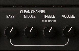 detail front image of PRS MT15 showing clean channel control knobs including push-pull boost control