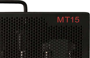 detail front image of PRS MT15 showing nameplate and portion of speaker grille