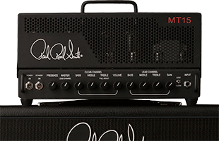 close-up front view of PRS MT15 sitting on amplifier speaker cabinet