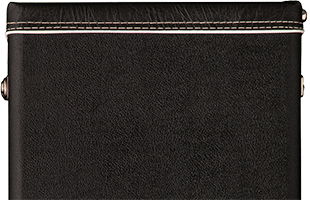 close-up top view of PRS Multi-Fit Case showing black tolex-style covering with white piping