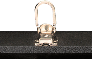 detail view of PRS Multi-Fit Case showing locking center latch