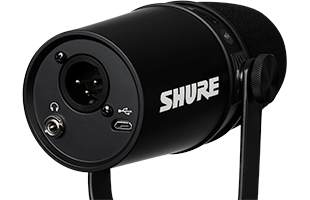 perspective view of Shure MV7 showing rear and right side