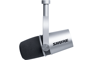 right side view of Shure MV7 with integrated yoke in hanging position