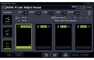 screen image from Korg Nautilus showing arpeggiator setup interface