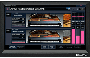 detail image of Korg Nautilus panel showing color TouchView display