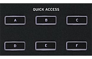 detail image of Korg Nautilus panel showing six quick access buttons