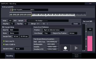 screen image from Korg Nautilus showing sampling interface