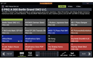 screen image from Korg Nautilus showing set list interface