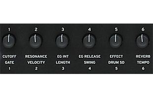 detail image of Korg Nautilus panel showing six realtime control knobs