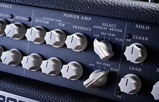 detail image of Boss Nextone Special guitar amplifier control panel showing power amp controls