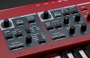 detail image of Nord Piano 5 showing controls for Piano section and Sample Synth section