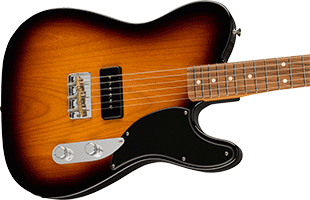 close-up perspective view of Fender Noventa Telecaster showing top and right side of body and portion of fretboard