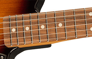 detail image of Fender Noventa Telecaster showing Medium Jumbo frets