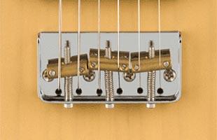 detail image of Fender Noventa Telecaster showing modified Telecaster bridge