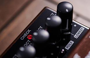 detail image of Boss OC-5 highlighting POLY knob