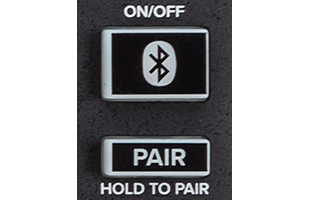 detail image of Mackie Onyx12 showing Bluetooth on-off and pairing buttons